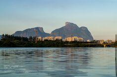 Gave Stone by sebastiaoboanerges  sky landscape lake city water reflection natural stone mountain gavea Rio de Janeiro sebastiaoboaner