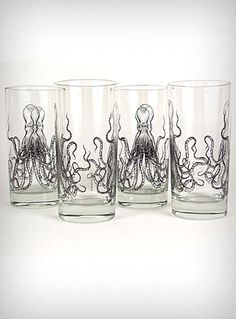 Octopus Print Zombie Glasses Set    This unique set of zombie glass tumblers features a wicked double sided black line drawing Octopus print against a clear glass background. A very versatile size with a quirky sense of style, these glasses are sure to add character to even the most simple place setting