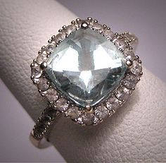 LOVE the colors!  Vintage Aquamarine Wedding Ring W Sapphire by AawsombleiJewelry, $1250.00