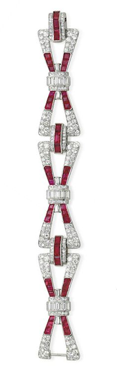 A RUBY AND DIAMOND BRACELET   Designed as three articulated bow motif openwork circular-cut diamond links, set with vari-cut rubies, centering upon a baguette and single-cut diamond knot, joined by single-cut diamond and baguette-cut ruby spacers, mounted in platinum, 7 ins., with French importation mark. Art Deco or Art Deco style.