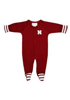 Nebraska Cornhuskers NCAA Newborn Baby Long Sleeve Colored Footed Romper