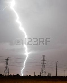 This storm is getting a little too close for comfort over power lines south Texas Stock Photo