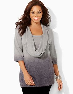 Cozy sweater features a unique dip-dye effect for a beautiful blend of light and dark shades. Draping cowl neckline reveals a stitched, self-color inset underneath to create a faux layered look. Sparkling metallic yarn shines along the soft fabric. Complete with three-quarter sleeves. Catherines tops are designed for the plus size woman to guarantee a flattering fit. catherines.com