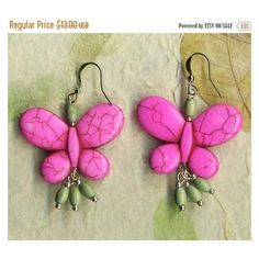 ON SALE Butterfly Earrings Pink Howlite Turquoise Earrings with... ❤ liked on Polyvore featuring jewelry and earrings