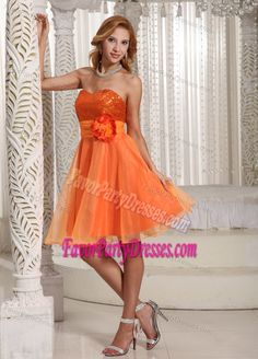 Qualified Organza Handmade Flower Sash Sequined Party Dresses in Orange