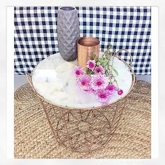 Kmart hack painted the white stool to pink metallic ideas love the4224collective has already created a great kmarthack on her new kmartaus copper rose gold wire basket look so lovely the4224collective thanks greentooth Images