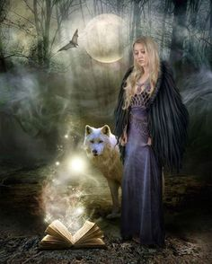 The lady is a witch and her faithful companion is a wolf. She is performing magic from her spell book.