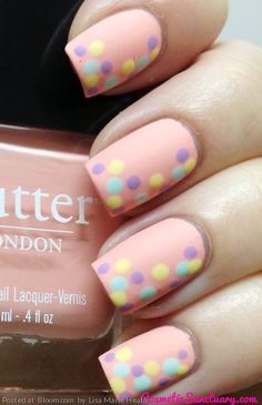 By Lisa Marie Heath. Base is Kerfuffle, dots are made using Jasper, Fiver and Molly Coddled - all from butter LONDON! I topped it off with a Matte Finish (also by BL) @BLOOM.COM