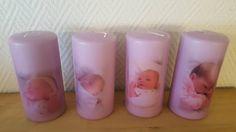 Lys Barnedåp dekaler Pillar Candles, Decoupage, Candles
