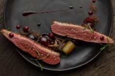 Marinated Duck with Chanterelles Gris and Black Pudding, Served with Pickled Cherries Duck Recipes, Game Recipes, Pickled Cherries, Black Pudding, European Cuisine, Luxury Food, Duck Sauce, Best Chef, Gourmet