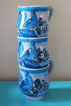 Vintage Mexican Pottery Mugs Tonala Ken Edwards. $35.00, via Etsy.