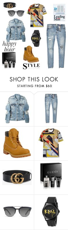 """""""A NEW YORK GUY"""" by nickysha-styles94 ❤ liked on Polyvore featuring Balmain, River Island, Timberland, Versace, Gucci, Dolce&Gabbana, men's fashion and menswear"""
