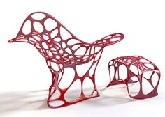 Futuristic Red Furniture Design Inspired by Ferrari Engine from Peter Donders Impression 3d, Chair Design, Furniture Design, Diy Design, Interior Design, Sectional Furniture, 3d Studio, Outdoor Garden Furniture, Creations
