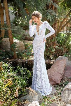 fs 20140403 sexy manga longa profunda v pescoço all casamento renda vestido 2014 em Vestidos de noiva de Roupas & acessórios no AliExpress.com | Alibaba Group