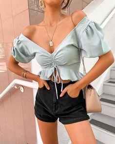 sexy chiffon blouse shirts lace up ruffles puff crop tops - BeFashionova Crop Top Outfits, Cute Casual Outfits, Girly Outfits, Summer Outfits, Fashion Outfits, Summer Weekend Outfit, Teen Fashion, Fashion Tips, Satin Crop Top