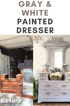 This gray and white painted dresser was such a treat to create! Today I share with you the story and the entire process, including how to dry brush! #thatsweettealife #painteddresser #graypainteddresser #paintedfurniture Gray Painted Dressers, Milk Paint Furniture, Painted Furniture For Sale, Diy Furniture Projects, Colorful Furniture, Furniture Makeover, Furniture Painting Techniques, Painting Furniture, Furniture Inspiration