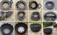 DIY recycled tire planter