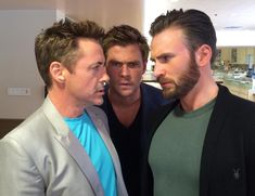 "Robert Downey Jr. on Twitter: ""Civil War? #AgeofUltron #PressTour @chrishemsworth @ChrisEvans"""