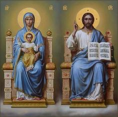 Theotokos (l) and Pantocrator (r). Mary Magdalene And Jesus, Mary And Jesus, Religious Pictures, Jesus Pictures, Christian Images, Christian Art, Catholic Art, Religious Art, Church Icon