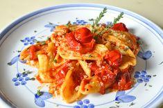 Cencioni con peperoni e pomodori arrostiti