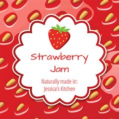 Food Label Strawberry Jam at BottleYourBrand. Jam Jar Labels, Canning Labels, Food Labels, Canning Recipes, Homemade Strawberry Jam, Cute Strawberry, Garden Canning Ideas, Canned Food Storage, Custom Labels