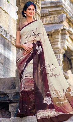 Shop OffWhite and Wine Printed Saree Online at IshiMaya Fashion - SAPLPGT4019