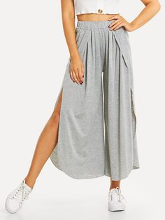 SheIn offers Elastic Waist Split Pants & more to fit your fashionable needs. Trouser Pants, Wide Leg Pants, Capri Trousers, Boho Hose, Split Pants, Pants For Women, Clothes For Women, Type Of Pants, Boho Pants