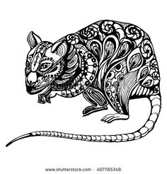 rat, rodent black and white drawing with patterns and ornaments. graphic vector illustration. tattoo or coloring - stock vector