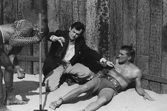 """Kirk Douglas and director Stanley Kubrick on the set of """"Spartacus"""" 1960."""