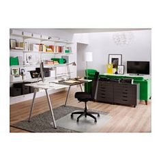 "IKEA - THYGE, Desk, , You can mount the table top at a height that suits you, since the legs are adjustable between 23⅝"" and 35⅜"".The melamine surface is durable, stain resistant and easy to keep clean."