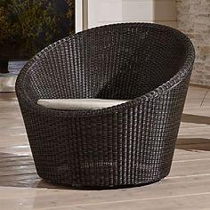 Calypso Mocha Swivel Lounge Chair with Sunbrella ® Stone Chair Cushion  crate and barrel