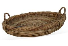 Check out this item at One Kings Lane! Oversize European Basket w/ Handles Weave Styles, Weaving, Pottery, Handle, Baskets, Accessories, Kings Lane, Home Decor, Check