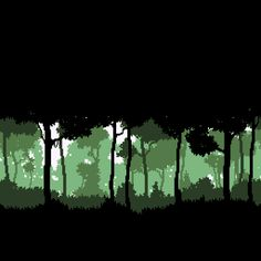 Monochromatic pixelated trees that would make a great cross stitch
