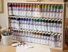 70 trendy craft room storage paint art studios - Image 23 of 24 Craft Paint Storage, Paint Organization, Art Studio Organization, Organization Ideas, Acrylic Paint Storage, Art Studio Storage, Art Supplies Storage, Art Storage, Storage Racks