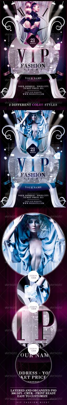 Vip Fashion Night Flyer Template / $6. *** This flyer is perfect for the promotion of Fashion Events, Club Parties, Musicals or Whatever You Want!. ***