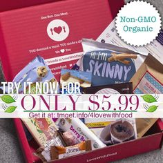 Try your very first box at 40% Off now only $5.99 & Free Shipping! With Love with Food Organic and natural subscription box.  http://tmget.info/4lovewithfood  follow the link in my Bio @Tomorrowsmom #tomorrowsmom TAG A FRIEND & SHARE