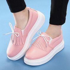 Pu Tassel Bowknot Lace Outdoor Slip On Flat Platform Loafers