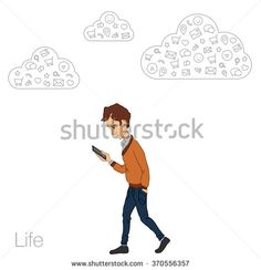 Mobile notification in smartphone. Icons mobile app of cloud service, technology. Guy with mobile phone in white background. Vector illustration of cartoon man. Cartoon man with mobile smartphone