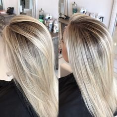 "174 Likes, 6 Comments - Brandie Clemons (@hairbybrandie_) on Instagram: ""Leaving those foils lines in the past I love a good smudged out root and platinum blonde. ✊"""