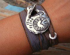 Steampunk Jewelry, Steampunk Clock Bracelet, Inspirational Quote Jewelry, Pocket Watch Clock Parts Bracelet, Time Flies Silk Wrap Bracelet. $49.00, via Etsy.