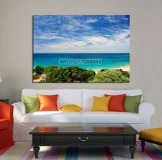 Extra Large Wall Art Cove Canvas with Greens