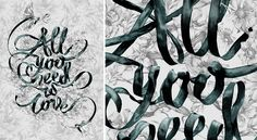 zeichenundwunder:    All You Need is Love  Ribbon type by SEAN FREEMAN as part of a collaborative piece with the lovely POMME CHAN for Bangkok's Design Festival.  http://www.thereis.co.uk