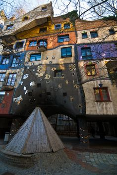 """""""Hundertwasserhaus"""" by SteFou! on Flickr - Hundertwasserhaus, Vienna, Austria:  This is a really cool house.  The artist didn't like straight lines.  Therefore, he opted to make an entire building without anything straight.  There isn't a straight line in the house!"""