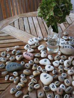 alphabet Stone Crafts, Rock Crafts, Crafts To Make, Fun Crafts, Crafts For Kids, Arts And Crafts, Summer Crafts, Pebble Art, Stone Art