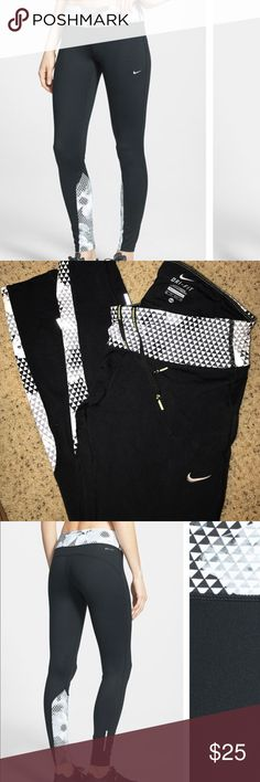 "NIKE ""Epic Run"" DRI FIT PRINT TIGHTS! Black and white running tights/leggings with geometric pattern on waistband and calves. SUPER COMFORTABLE. gently worn. Reflectors on the back of the calves, Nike Running drawstring inside waistband. Nike Pants Leggings"