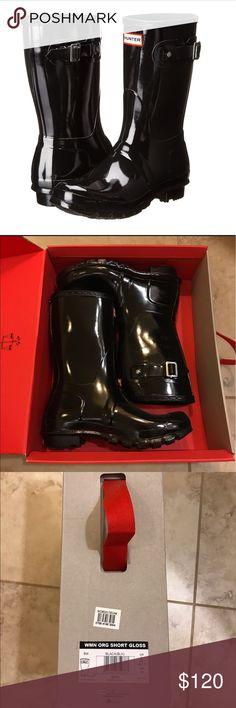 Hunter Original Short Gloss Rain Boots Hunter Original Short Gloss Rain Boots. Like NEW!! Only worn a few times. Black. Size 7 (EU 38). Hunter Boots Shoes Winter & Rain Boots