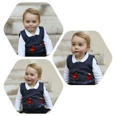 Prince George is pictured sitting on the steps of Kensington Palace for his Christmas 2014 picture.