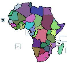 Leer de landen en hoofdsteden van Afrika. Klik op de kaart.
