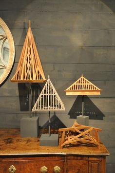 set of 4 architectural wooden models