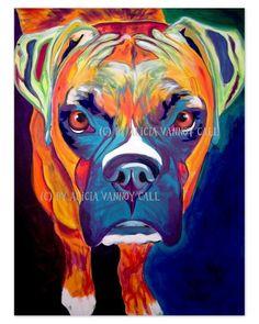 Colorful Pet Portrait Boxer Dog Art Print 8x10 by by dawgpainter, $12.00